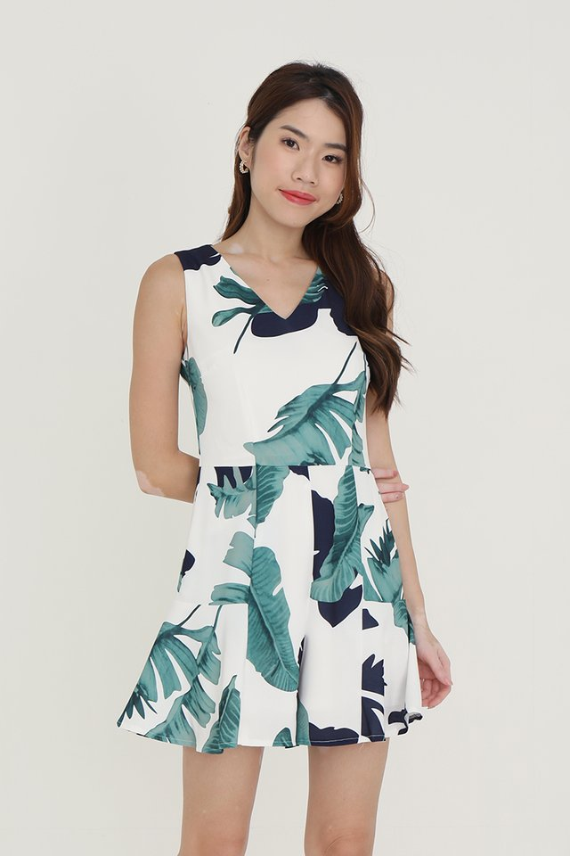 Emily Tropical Playsuit (White)