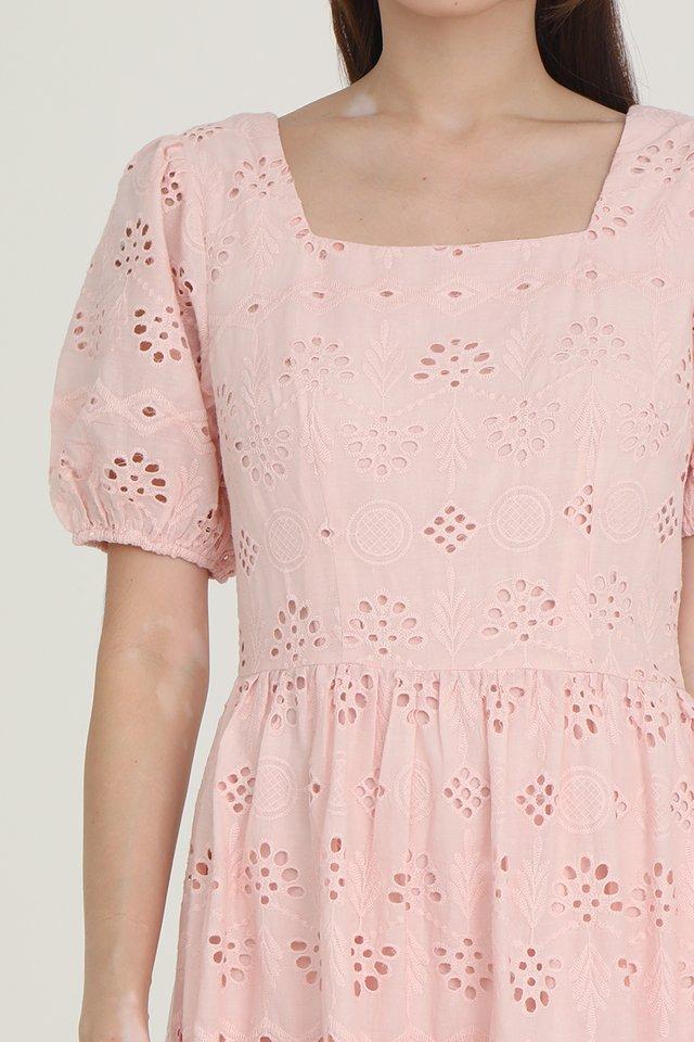Leah Eyelet Babydoll Dress (Pink)