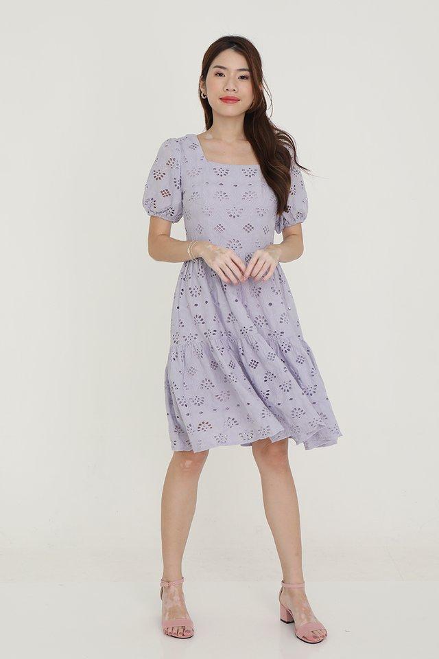 Leah Eyelet Babydoll Dress (Lilac)