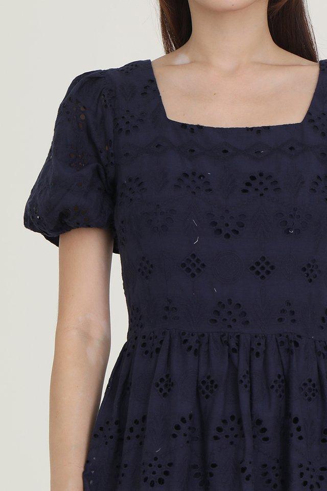 Leah Eyelet Babydoll Dress (Navy Blue)