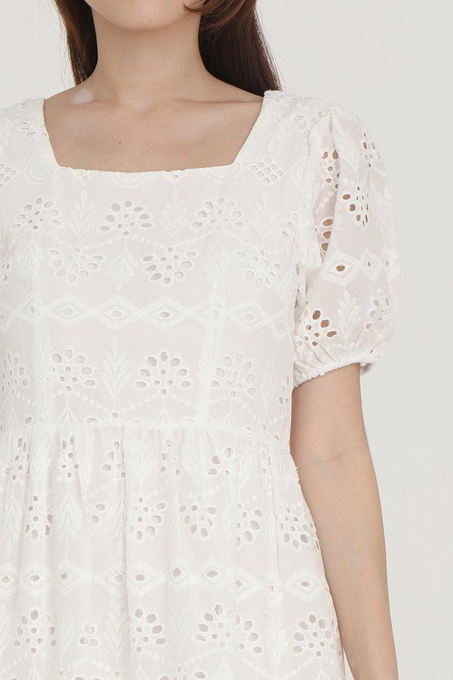 Leah Eyelet Babydoll Dress (White)