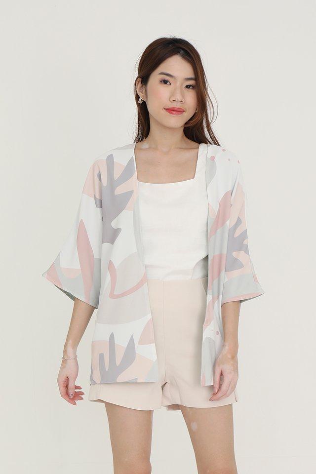 Bernetta Reversible Kimono Jacket (Cream Abstract/Sage Green)