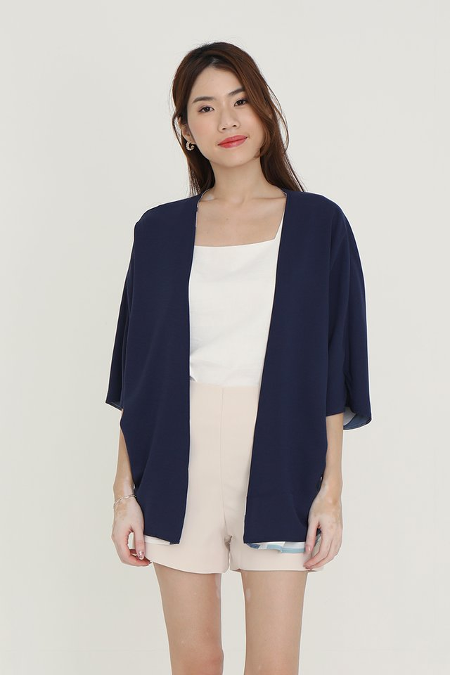 Bernetta Reversible Kimono Jacket (Blue Abstract/Navy Blue)