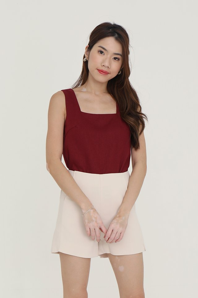 Justina Two-way Linen Top (Wine)