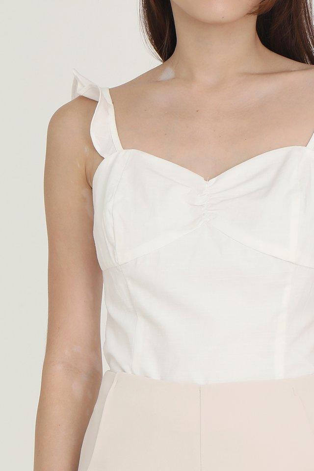 Dileya Ruffled Strap Top (White)