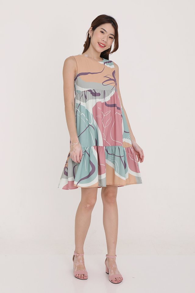 Chelsea Abstract Babydoll Dress (Green)