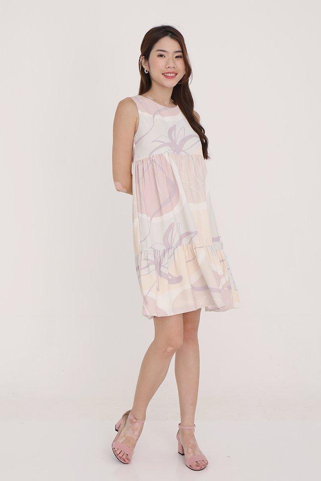 Chelsea Abstract Babydoll Dress (Cream)