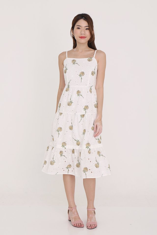 Tiana Spag Floral Eyelet Midi Dress (Yellow)