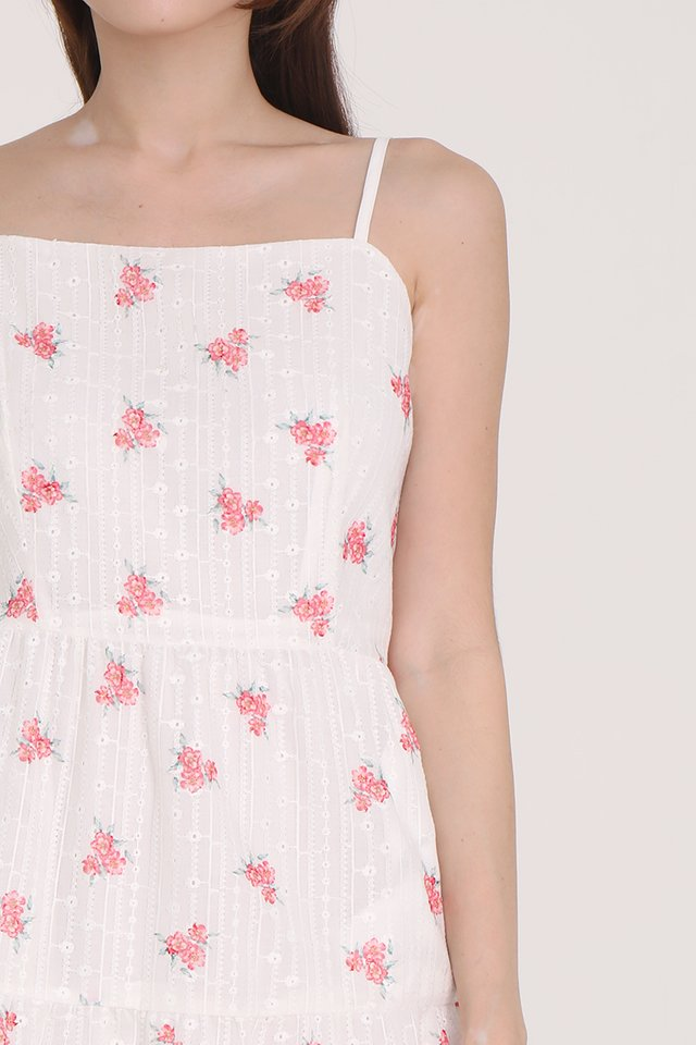 Tiana Spag Floral Eyelet Midi Dress (Pink)