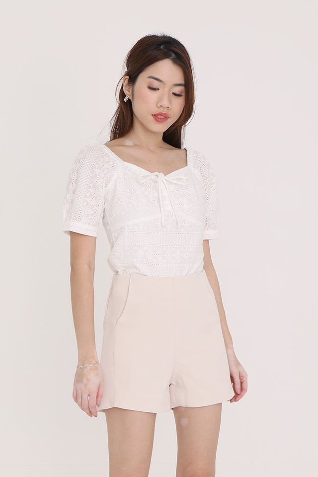 Neveah Eyelet Top (White)