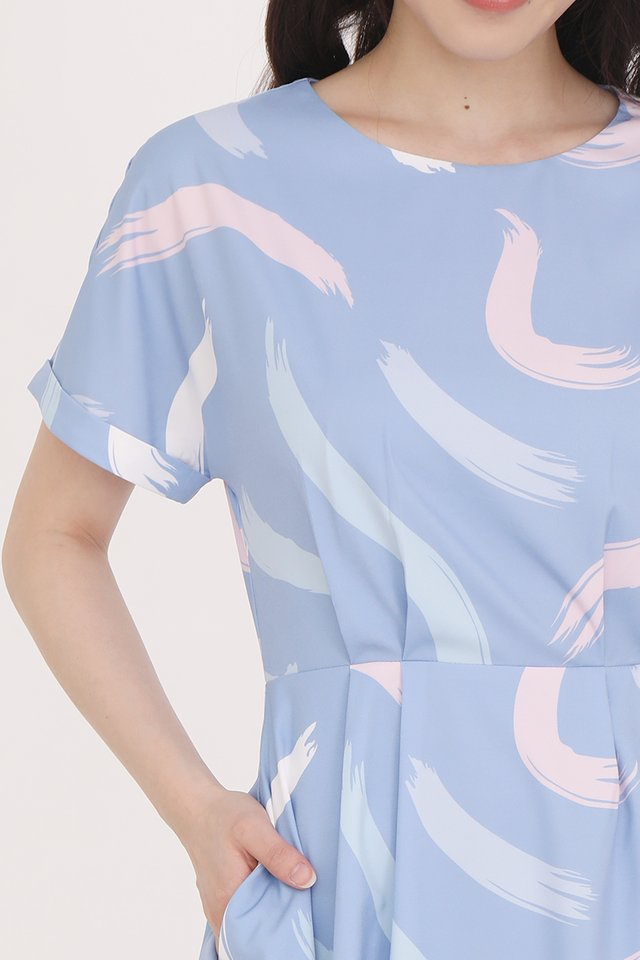 Sophia Abstract Cuff Sleeve Dress (Sky Blue)