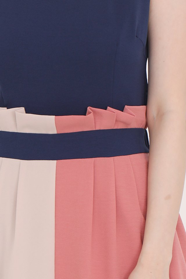 Charlotte Paperbag Colourblock Dress (Navy Blue)