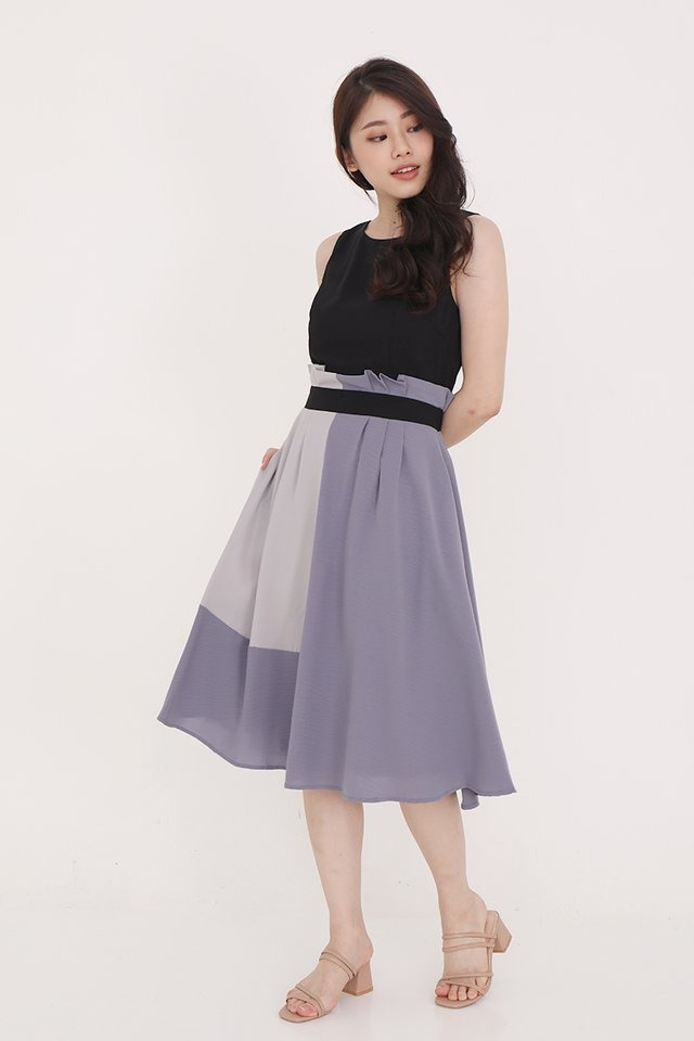 Charlotte Paperbag Colourblock Dress (Black)