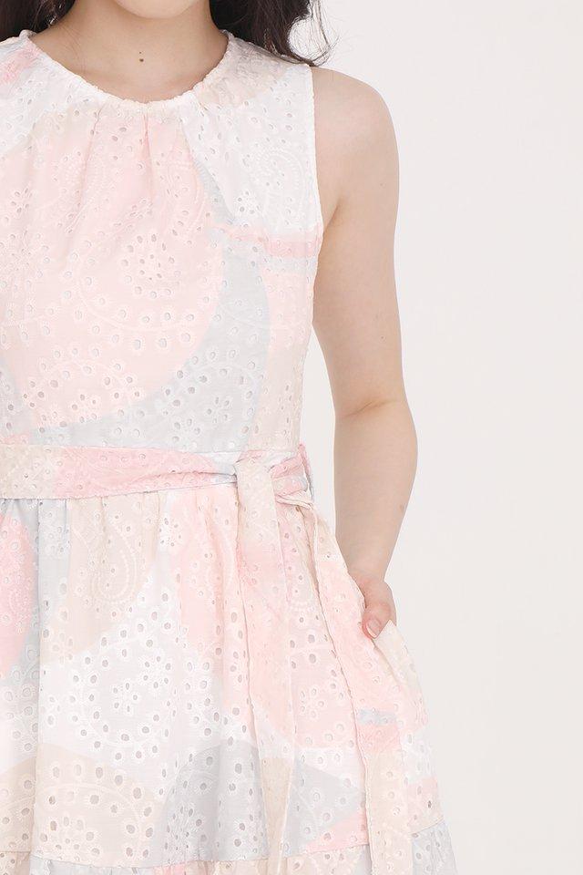 Maria Eyelet Dress (Pastel Pink)