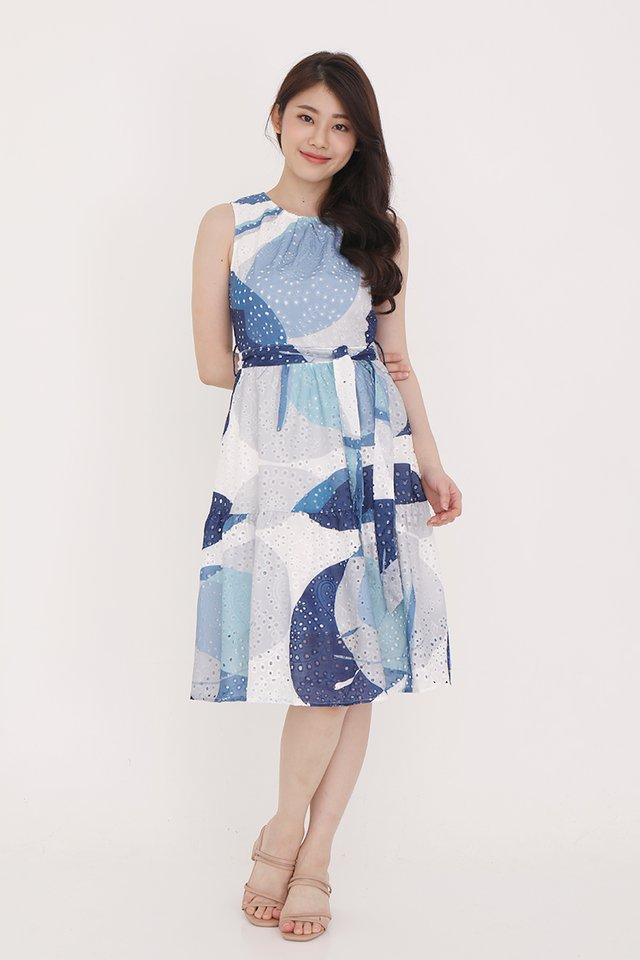 Maria Eyelet Dress (Blue)