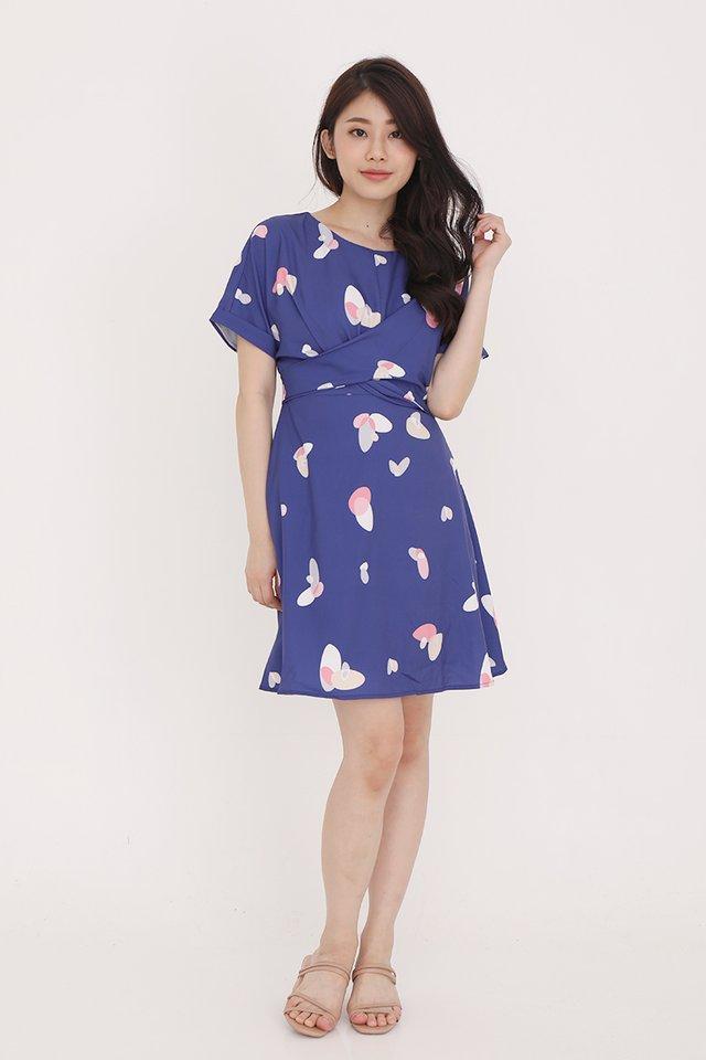 Larissa Criss Cross Sleeve Dress (Navy Blue)
