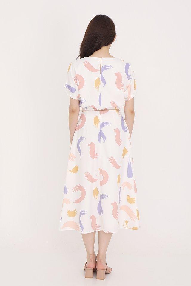 Jillian Abstract Skirt (White)