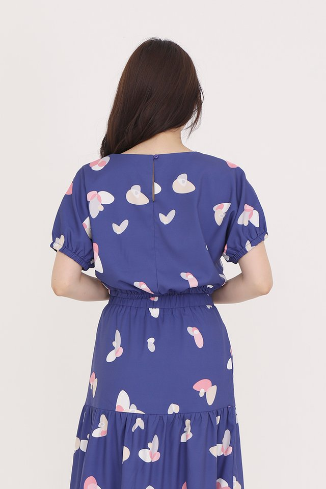 Lowri Abstract Top (Navy Blue)
