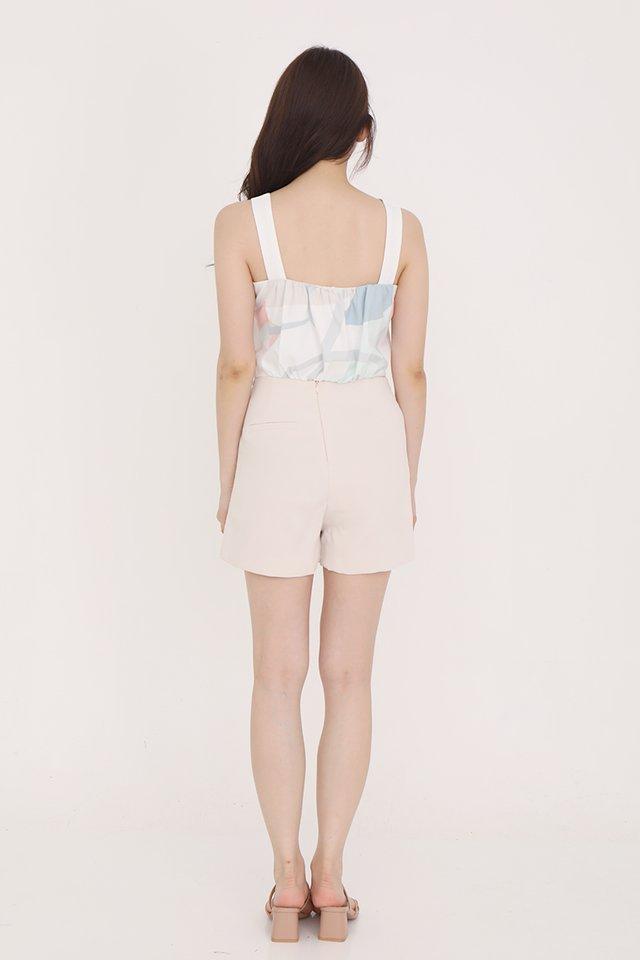 Tamara Ruched Cropped Top (White)