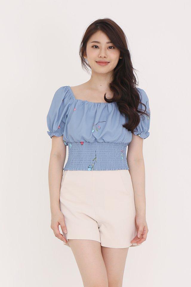 Felicia Smocked Top (Blue)