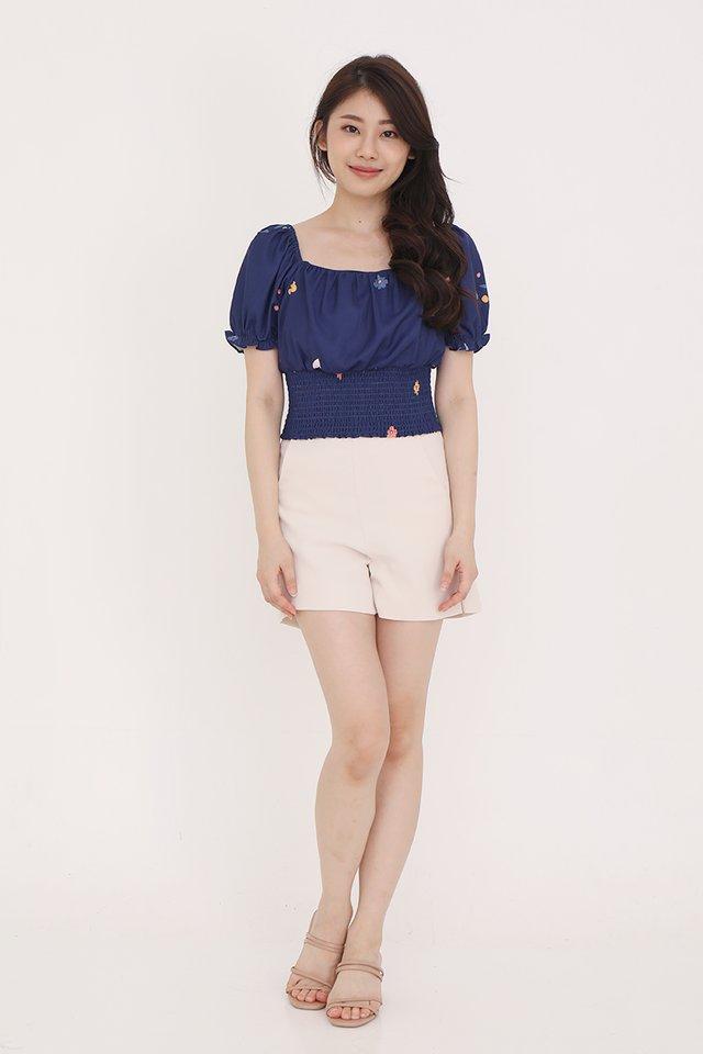 Felicia Smocked Top (Navy Blue)