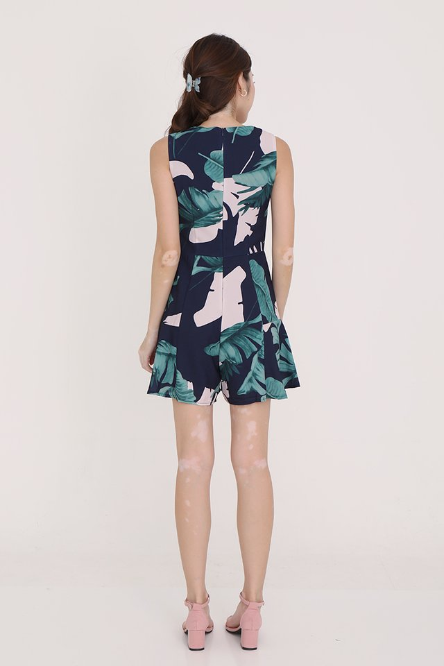 Emily Tropical Playsuit (Navy Blue)