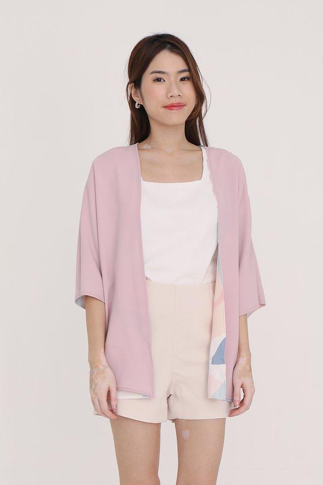 Bernetta Reversible Kimono Jacket (Pink Abstract/Pink)