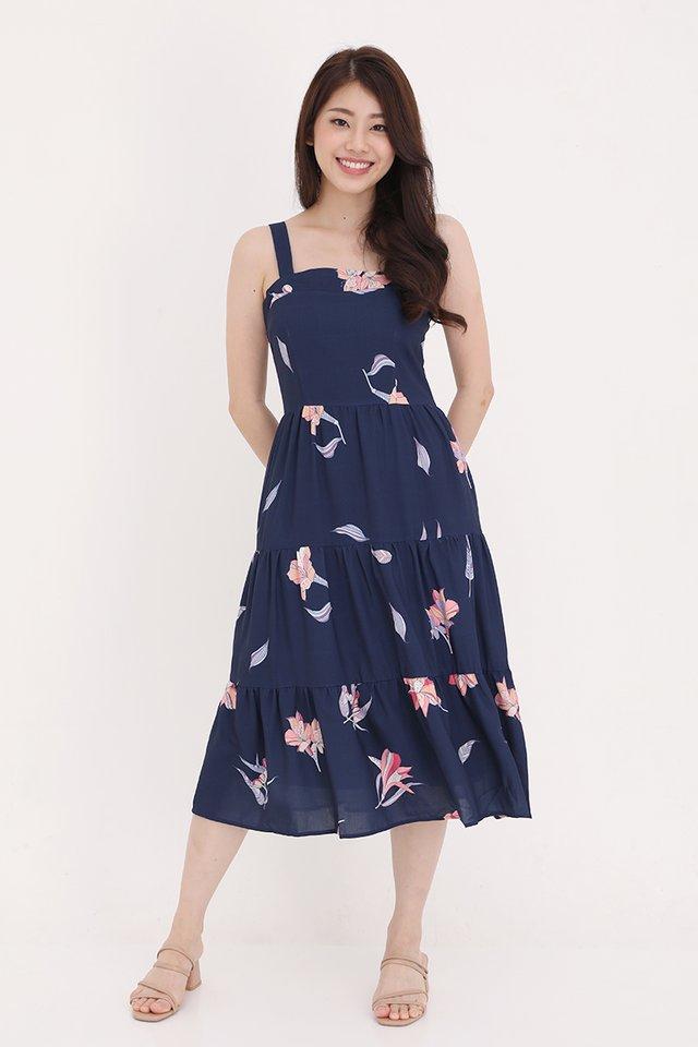 Evelyn Triple Tier Floral Dress (Navy Blue)