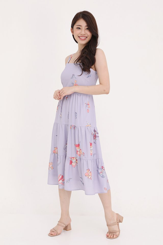 Evelyn Triple Tier Floral Dress (Lilac)