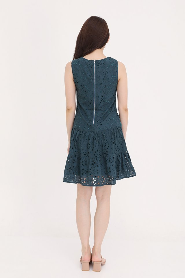 Juliana Triple Tier Eyelet Dress (Forest Green)