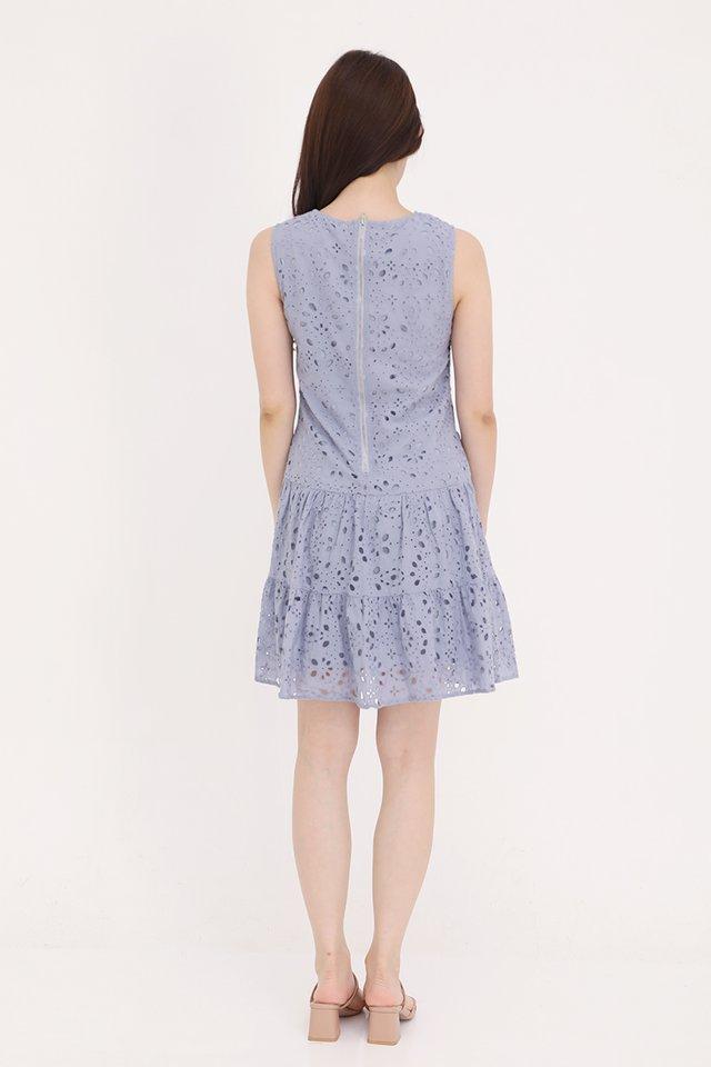 Juliana Triple Tier Eyelet Dress (Lilac Grey)
