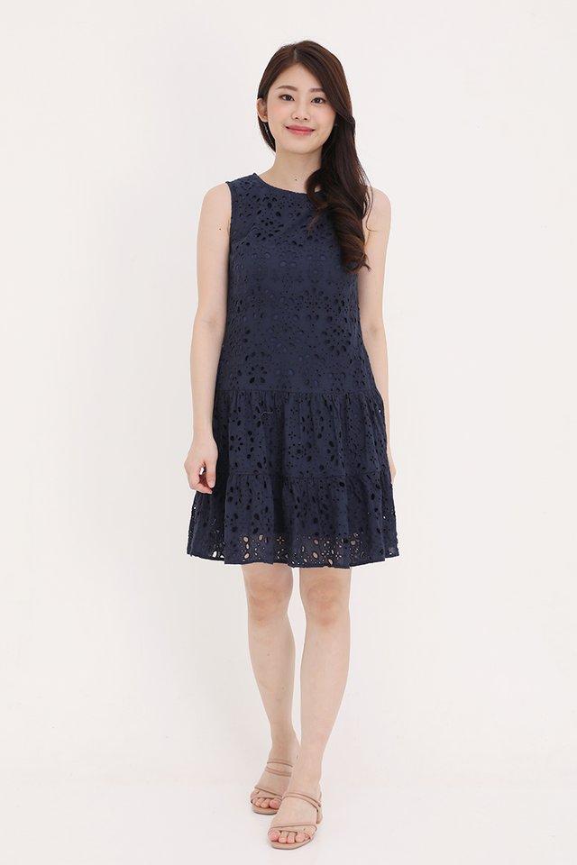 Juliana Triple Tier Eyelet Dress (Navy Blue)