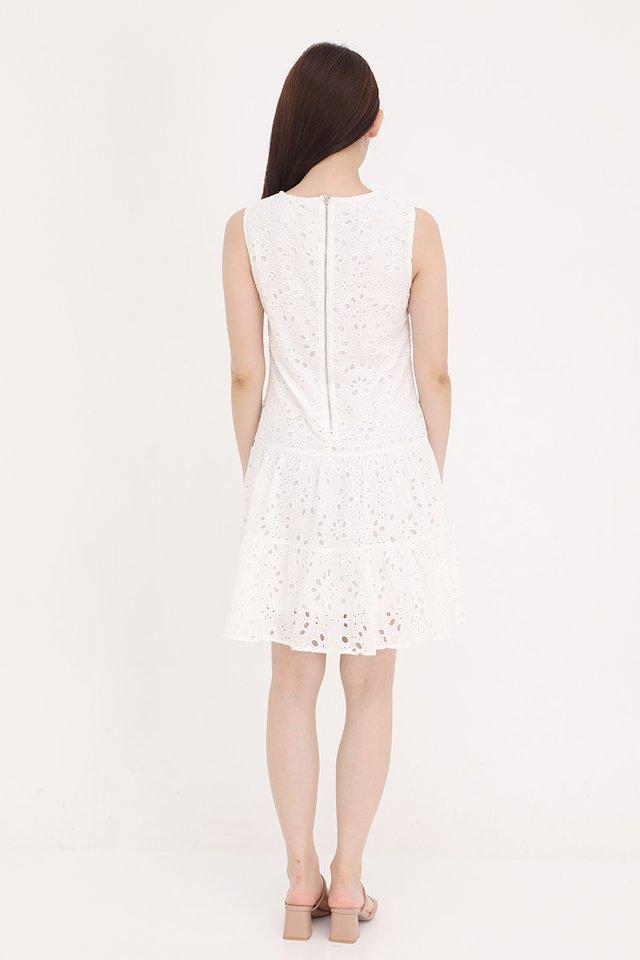 Juliana Triple Tier Eyelet Dress (White)