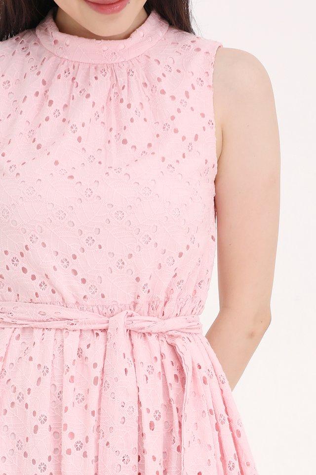 Kinley High Neck Eyelet Dress (Pink)