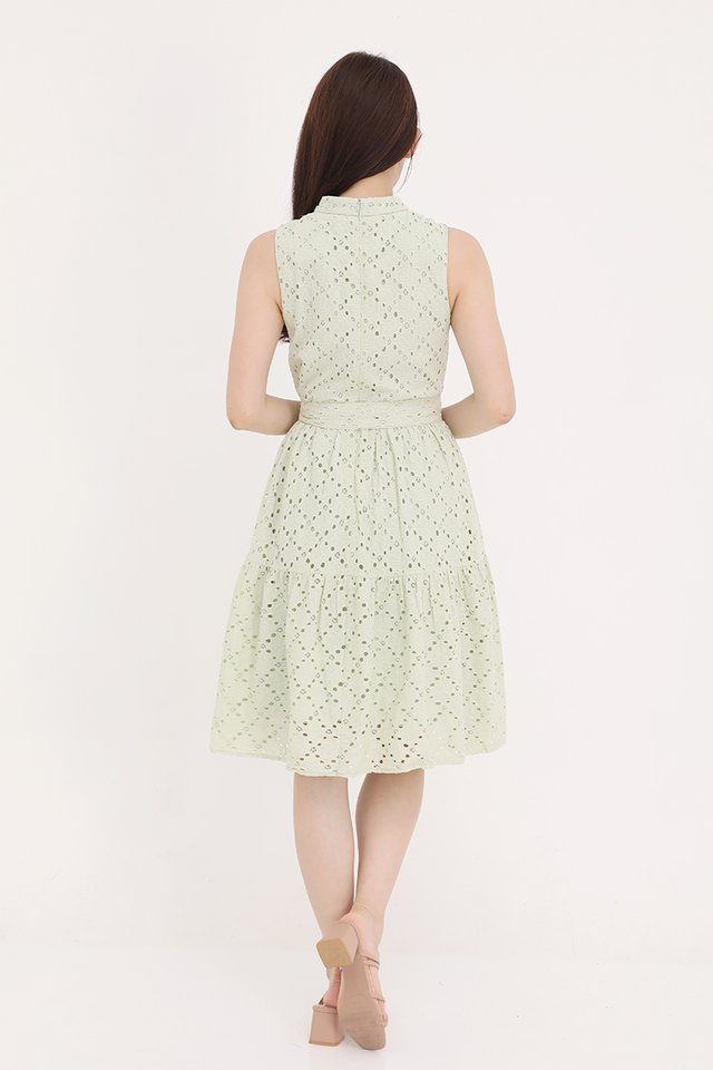 Kinley High Neck Eyelet Dress (Sage Green)