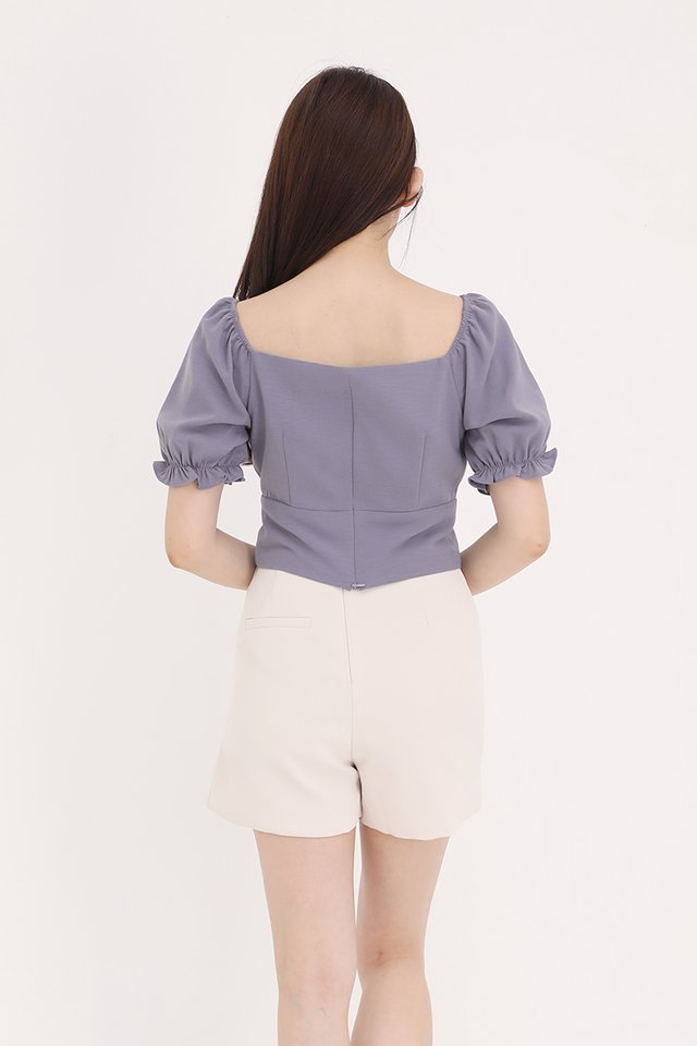 Liana Ruched Top (Lilac Grey)