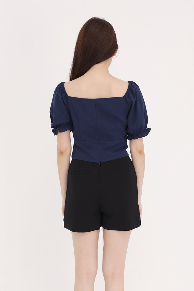 Liana Ruched Top (Navy Blue)