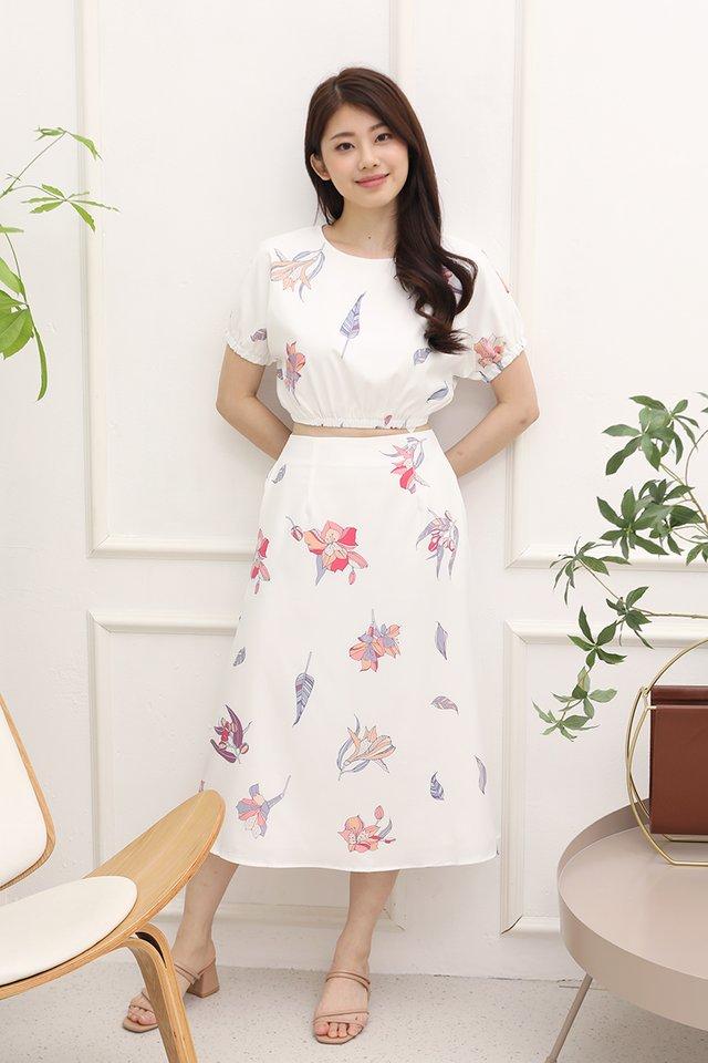 Gina Floral Skirt (White)
