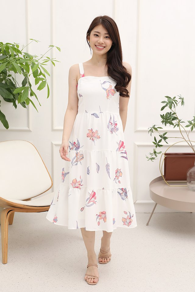 Evelyn Triple Tier Floral Dress with matching mask (White)