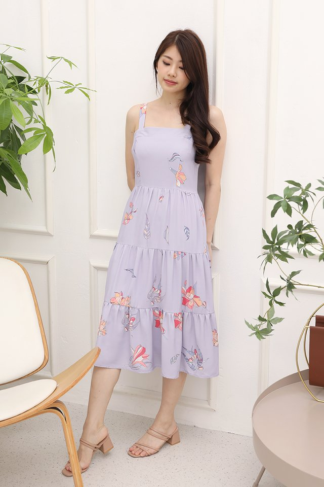 Evelyn Triple Tier Floral Dress with matching mask (Lilac)