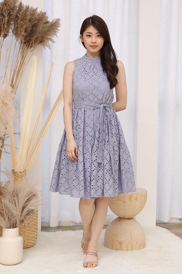 Kinley High Neck Eyelet Dress (Lilac Grey)