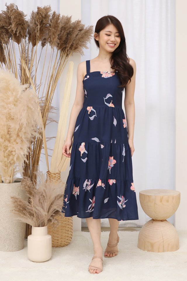 Evelyn Triple Tier Floral Dress with matching mask (Navy Blue)