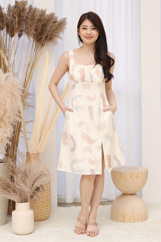 Emery Side Zipper Ruched Dress (Cream)