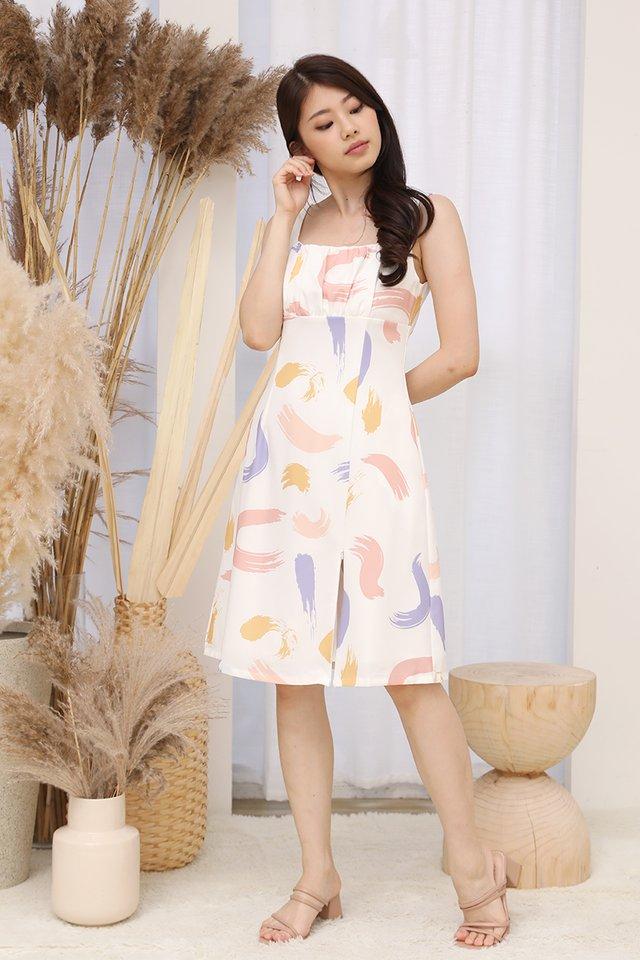 Emery Side Zipper Ruched Dress (White)