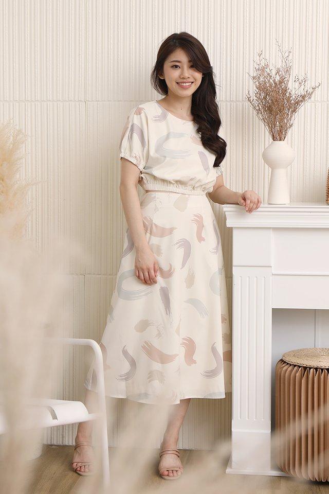 Jillian Abstract Skirt (Cream)