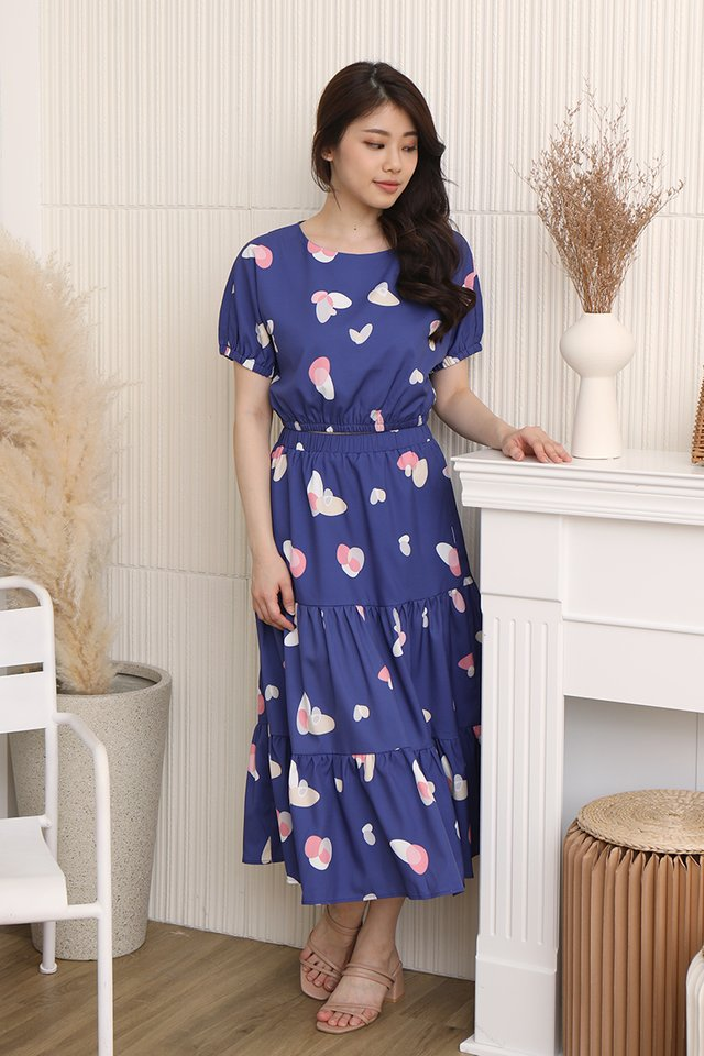 Lowri Abstract Tiered Skirt (Navy Blue)