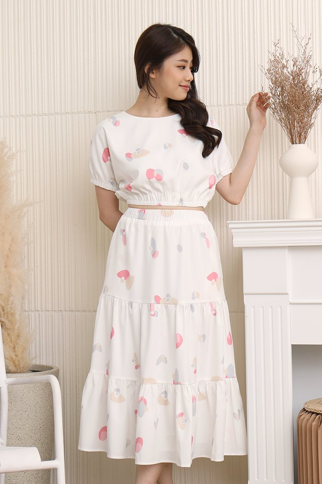 Lowri Abstract Tiered Skirt (White)