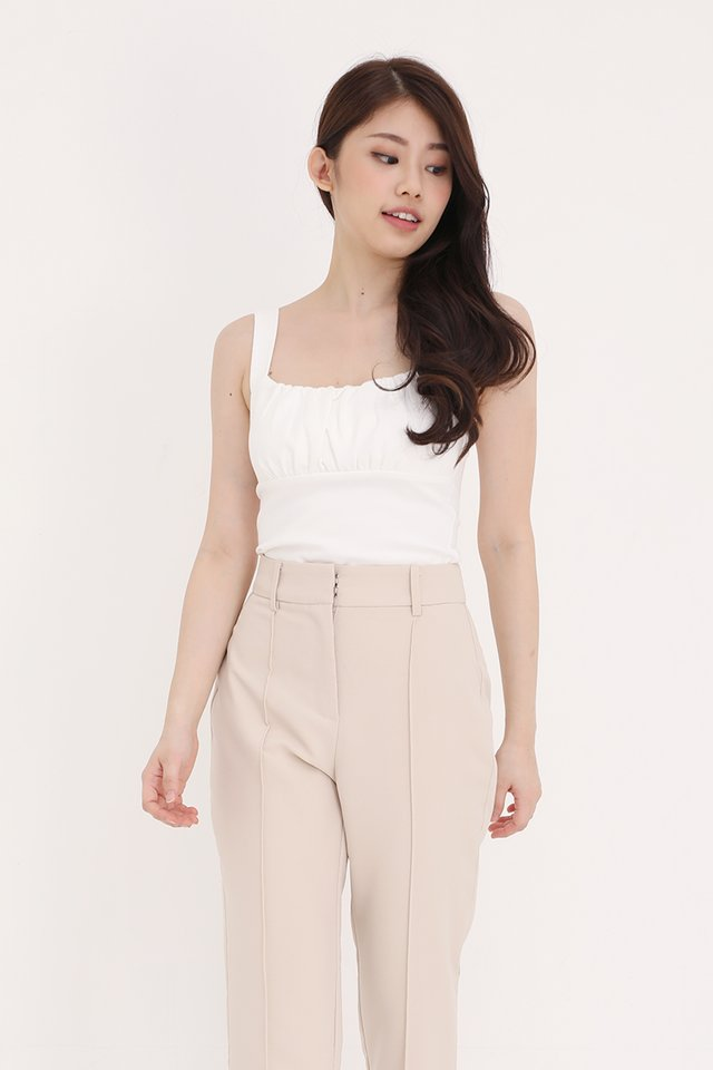 Heiley Basic Ruched Top (White)