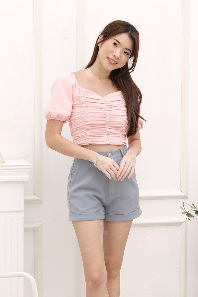 Ella Ruched Top (Pink)