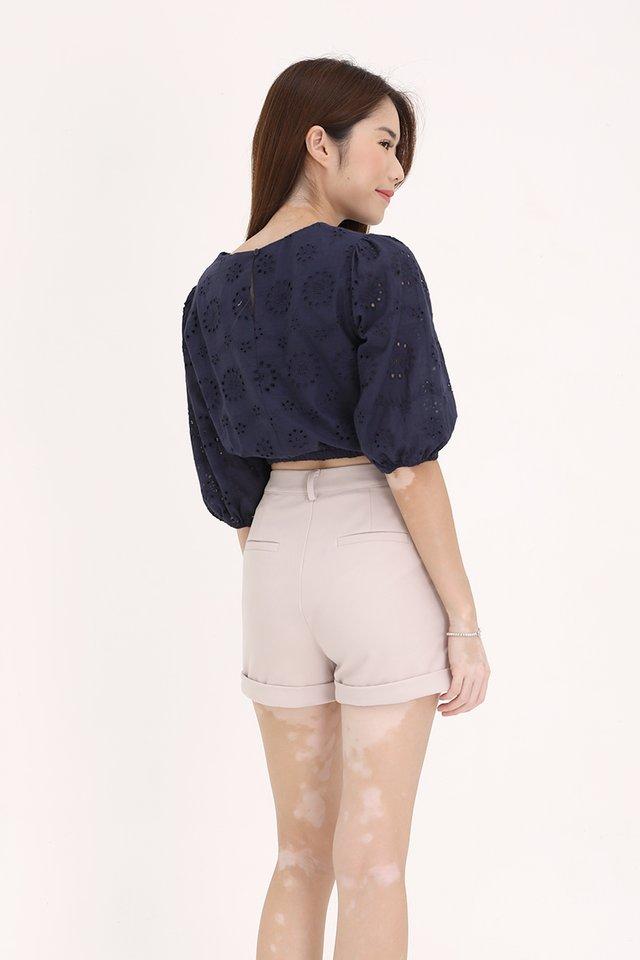 Nico Bubble Sleeve Top (Navy Blue)
